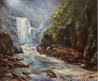 """Картина маслом """"Водопад в лунную ночь"""""""