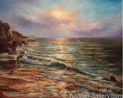 """Картина маслом """"Вечер на море"""""""
