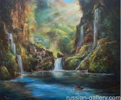 """Картина маслом """"Хижина в горах"""""""
