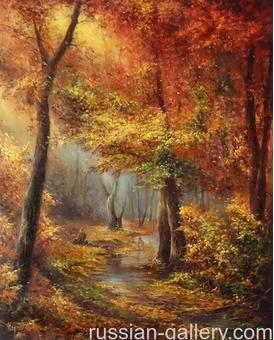 """Картина маслом """"Багровый лес"""""""