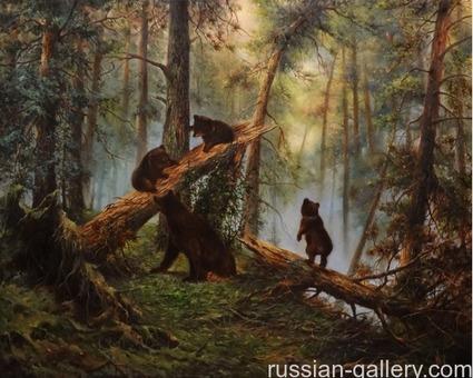 """Картина маслом """"Утро в сосновом лесу"""""""