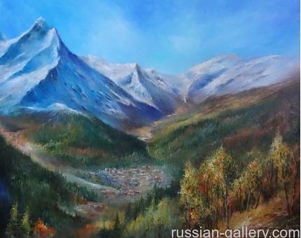 """Картина маслом """"Осень в Домбае"""""""