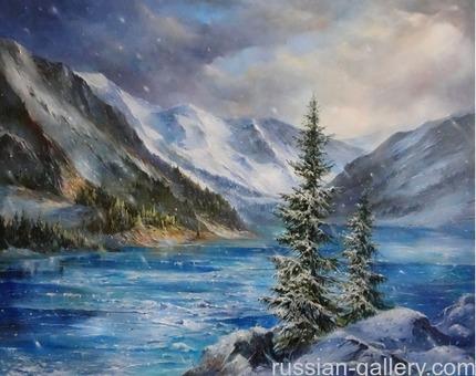 """Картина маслом """"Ледяное озеро"""""""